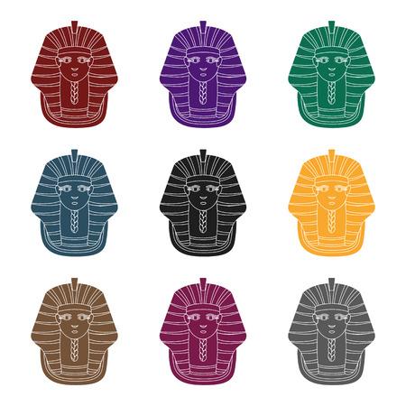 Set of colorful pharaohs mask icon. Illustration