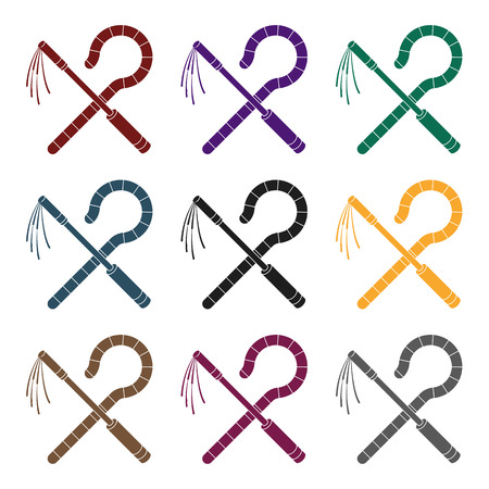Set of colorful crook and flail icon.