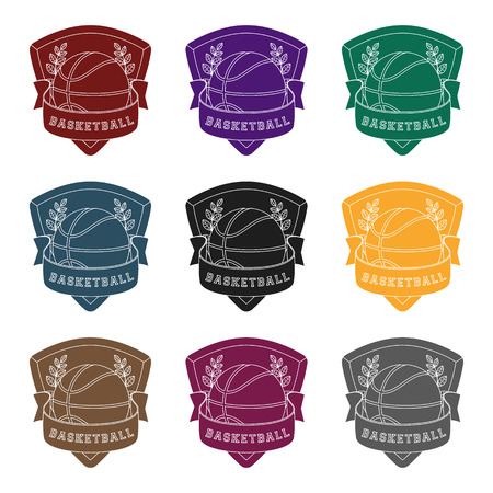 Set of basketball emblems icon. Illustration
