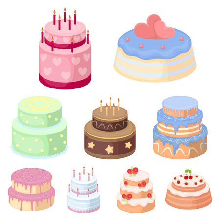 Cakes for the holidays. A set of different sweets. Beautifully decorated cakes and muffins. Illustration