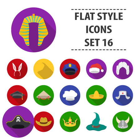 Hats set icons in flat style. Big collection hats vector symbol stock illustration