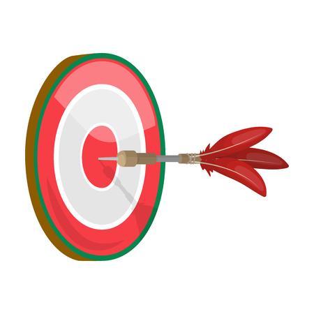 Dart y un objetivo para dardos. El juego de dardos solo icono en dibujos animados estilo vector símbolo stock ilustración web. Foto de archivo - 85085715