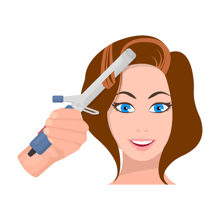 Hair curling in the hairdresser. Curling Hair single icon in cartoon style vector symbol stock illustration web. Stock Vector - 85085717