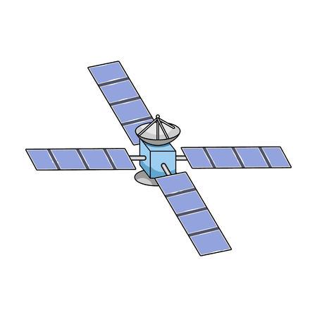 Space station in orbit vector icon