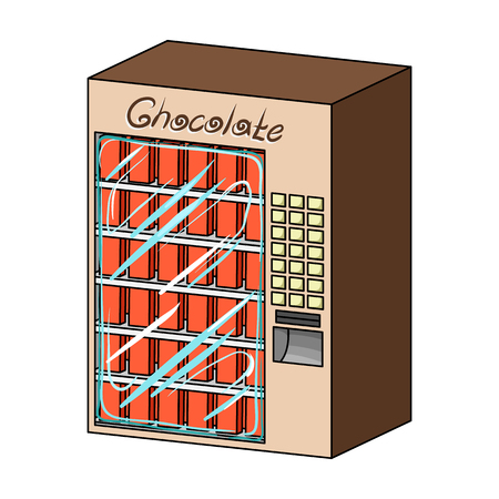A terminal with different kinds of chocolate. Terminals single icon in cartoon style isometric vector symbol stock illustration web. Illustration