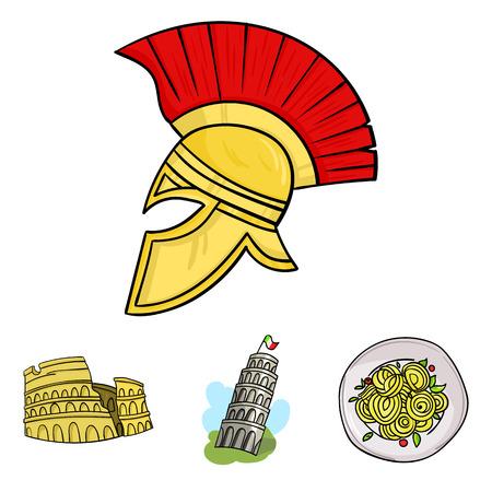 Cartoon illustration of  Set of Italy symbols. Illustration
