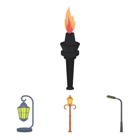 plafond: Cartoon illustration of Lampposts icons.