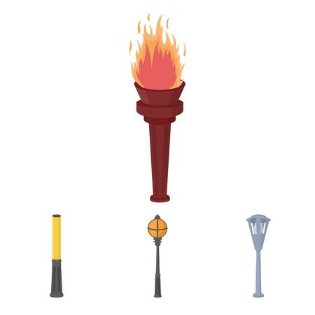 torch: Cartoon illustration of Lampposts icons.