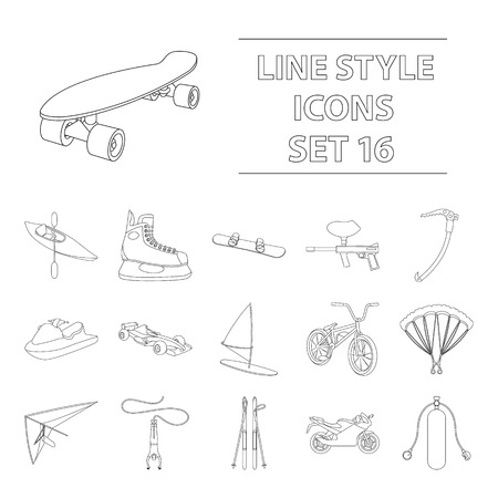 Extreme sports line style icons set.