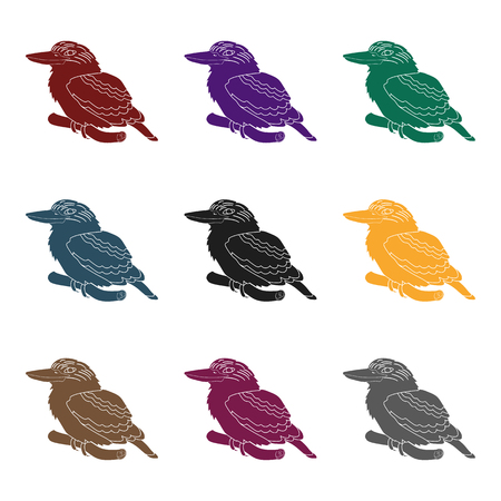 Set of different colors of Kookaburra birds icon. Illustration