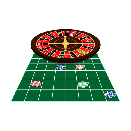 Roulette and casino chips icon.