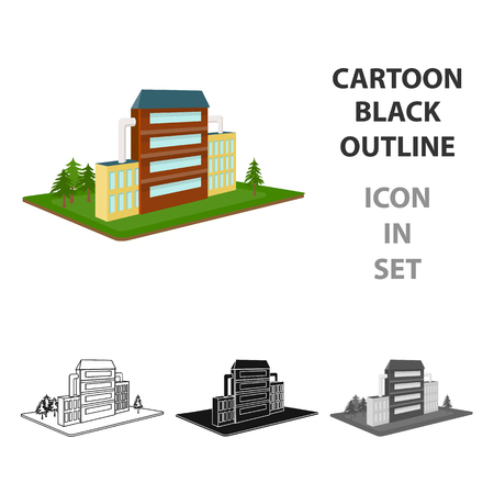 Cartoon black outline icon in set van industriële fabriek illustratie. Stockfoto - 84988253
