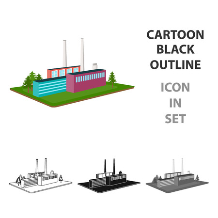 Cartoon black outline icon in set of   Industrial factory illustration.