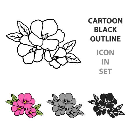 Rose of sharon icon in cartoon style Ilustração