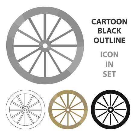 cartwheel: Cart-wheel icon cartoon. Singe western icon from the wild west cartoon.