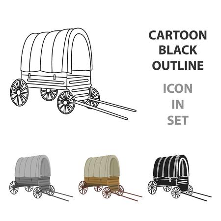 카우보이 왜건 아이콘 만화. 와일드 웨스트 만화에서 단일 서쪽 아이콘입니다. 스톡 콘텐츠 - 84948404