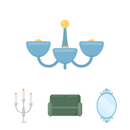 Sofa, mirror, candlestick, chandelier.FurnitureFurniture set collection icons in cartoon style vector symbol stock illustration .