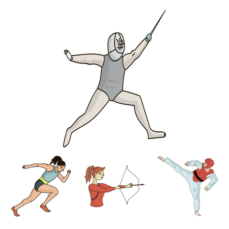 Archery, karate, running, fencing. Sport set collection icons in cartoon style vector symbol stock illustration . Illustration