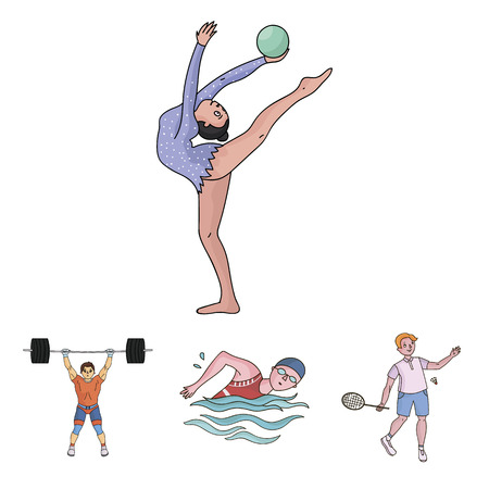 Swimming, badminton, weightlifting, artistic gymnastics. Sport set collection icons in cartoon style vector symbol stock illustration . Illustration