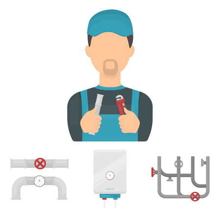 Boiler, plumber, ventils and pipes.Plumbing set collection icons in cartoon style vector symbol stock illustration . Иллюстрация