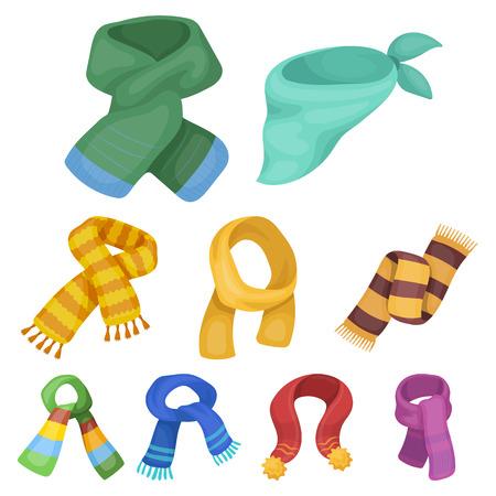 Mooie wollen, zijden warme sjaals met zijden sjaals. sjaals en shawles pictogram in set collectie op cartoon stijl vector symbool voorraad web illustratie. Stockfoto - 84957021