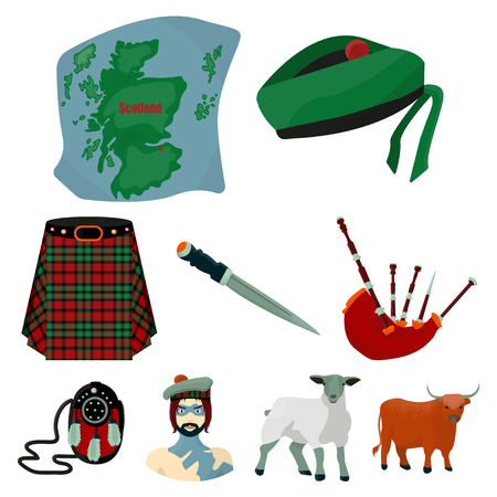 bagpipes: National symbols of Scotland. Scottish attractions. Scotland country icon in set collection on cartoon style vector symbol stock web illustration.