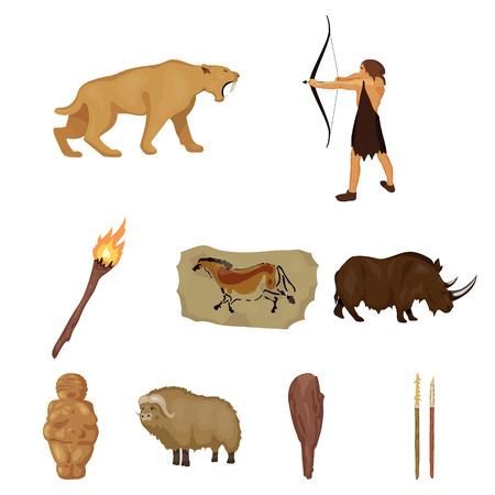La edad de piedra establece iconos en diseño de dibujos animados. Gran colección de edad de piedra símbolo del vector stock photo Foto de archivo - 84957028