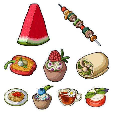 Photos sur le végétarisme. Plats végétariens, nourriture végétarienne. Légumes, fruits, herbes, champignons. Icône de plats végétariens dans la collection de jeu sur illustration de stock illustration de vecteur de style dessin animé symbole. Banque d'images - 84957037
