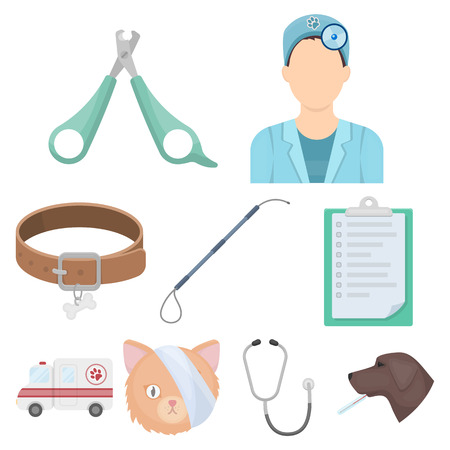 Vet clinic. Treatment of sick animals. Hospital for animals.Vet clinic icon in set collection on cartoon style vector symbol stock web illustration. Illustration