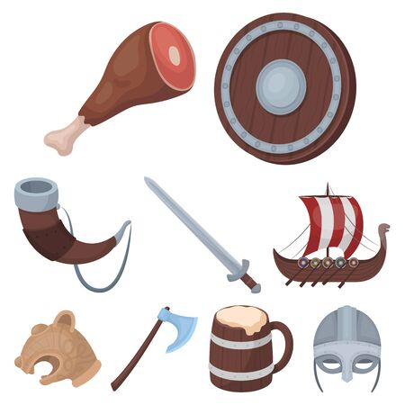 warriors: Ancient warriors of the Vikings on the ship. Outfit and symbols of the Vikings.Vikings icon in set collection on cartoon style vector symbol stock web illustration.