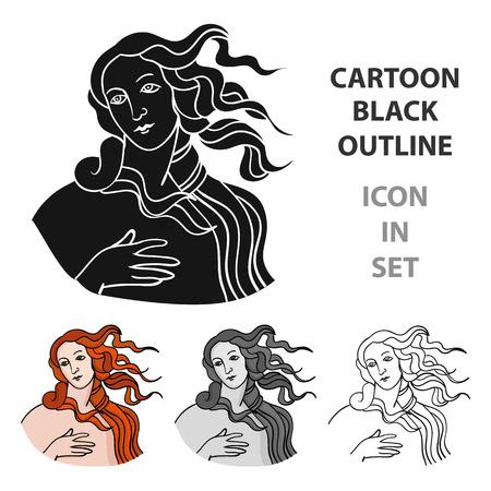 diosa italiana del icono del amor en el estilo de dibujos animados aislado en el fondo blanco. Italia ilustración vectorial símbolo del país. Ilustración de vector