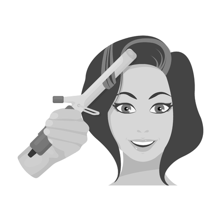 Hair curling in the hairdresser. Curling Hair single icon in monochrome style vector symbol stock illustration . Illustration