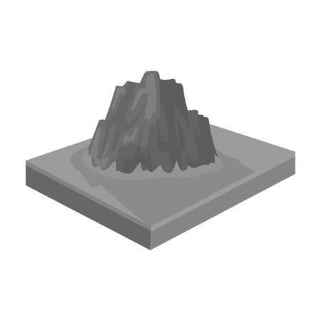 relievo: Mountains, rocks and landscape. Relief and mountains single icon in monochrome style isometric vector symbol stock illustration .
