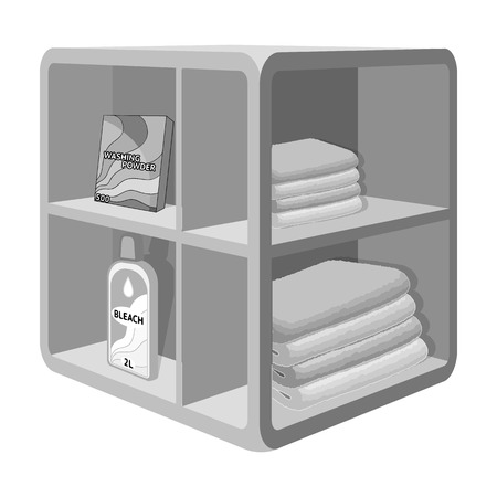 niche: A rack in the bathroom for laundry and detergents. Furniture single icon in monochrome style Isometric vector symbol stock illustration .