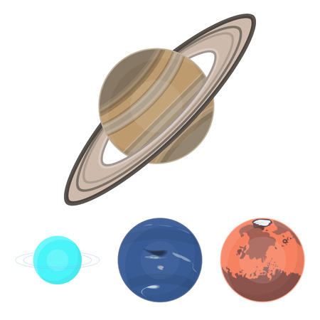 Planets set collection icons in cartoon style vector symbol stock illustration Illustration