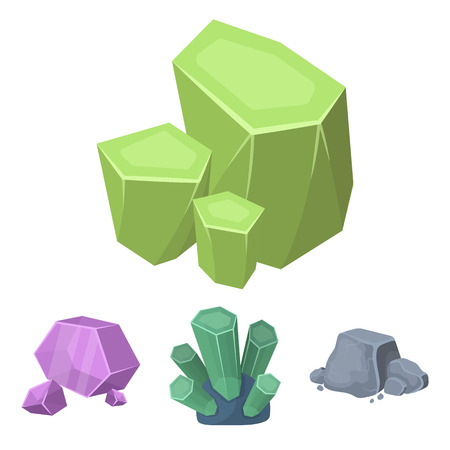 Crystals, iron ore. Precious minerals and a jeweler set collection icons in cartoon style vector symbol stock illustration .