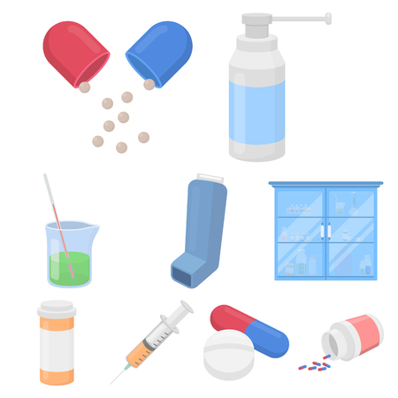 prescription bottles: Medicine and hospital set icons in cartoon style. Big collection of medicine and hospital vector symbol stock
