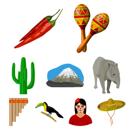 Mexico country set icons in cartoon design. Big collection of mexico country vector symbol stock illustration