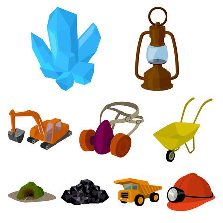 Set von Icons über die Mine. Die Gewinnung von Kohle, Mineralien, Schutz der Bergleute. Verarbeitung von Kohle.Mine Industrie-Symbol in Set-Auflistung auf Cartoon-Stil Vektor-Symbol stock Web-Illustration.
