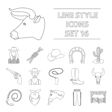 Rodeo set icons in outline design. Big collection of rodeo vector symbol stock illustration Çizim