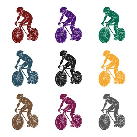 cycling helmet: An athlete with a helmet riding his bike on the field.Cycling.active sports single icon in black style vector symbol stock web illustration. Illustration