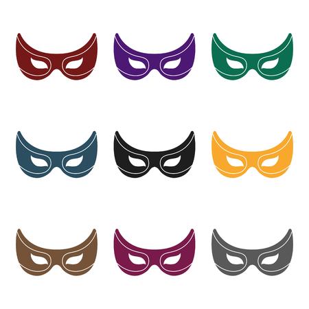 Eye mask icon in black style isolated on white background. Superheros mask symbol vector illustration. Illustration