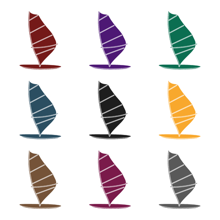 Windsurf board icon in black design isolated on white background. Surfing symbol stock vector illustration.