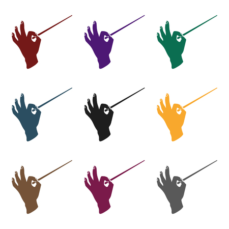 Conductor orchestra icon in  black style isolated on white background. Theater symbol vector illustration Illustration