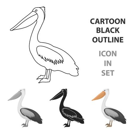 Pelican pictogram in cartoon stijl geïsoleerd op een witte achtergrond. Vogel symbool vector illustratie.