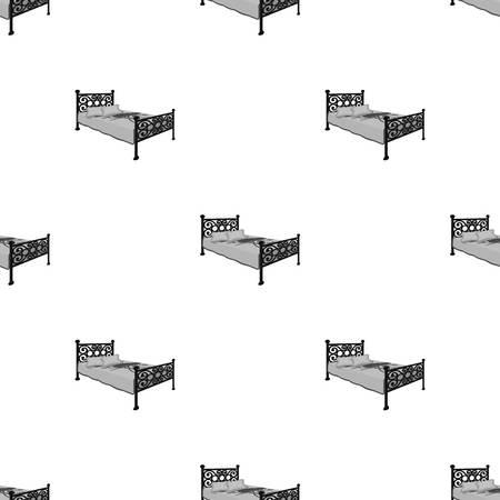 A bed with forged backs seamless pattern Illusztráció