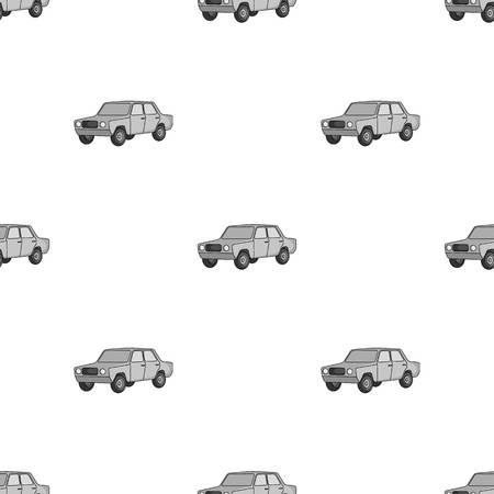 Old car.Car single icon in monochrome style vector symbol stock illustration .