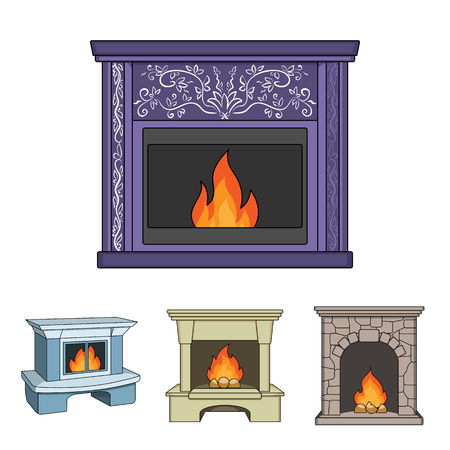 Fireplace set collection icons in cartoon style vector symbol stock illustration .