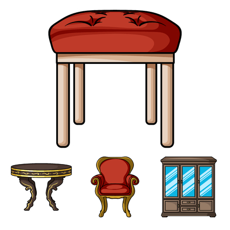 Furniture and home interior set collection icons in cartoon style vector symbol stock illustration