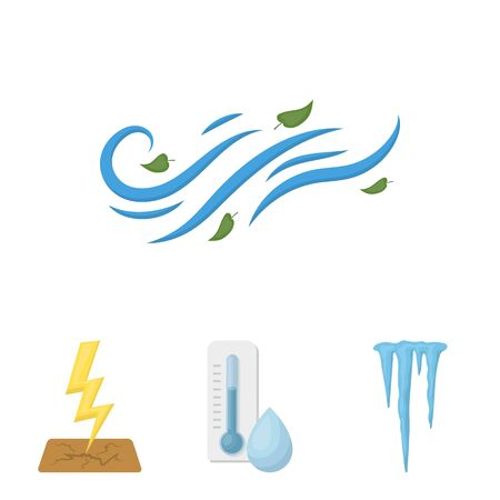Humidity, icicles, thunderbolt, windy weather. Weather set collection icons in cartoon style vector symbol stock illustration . 向量圖像